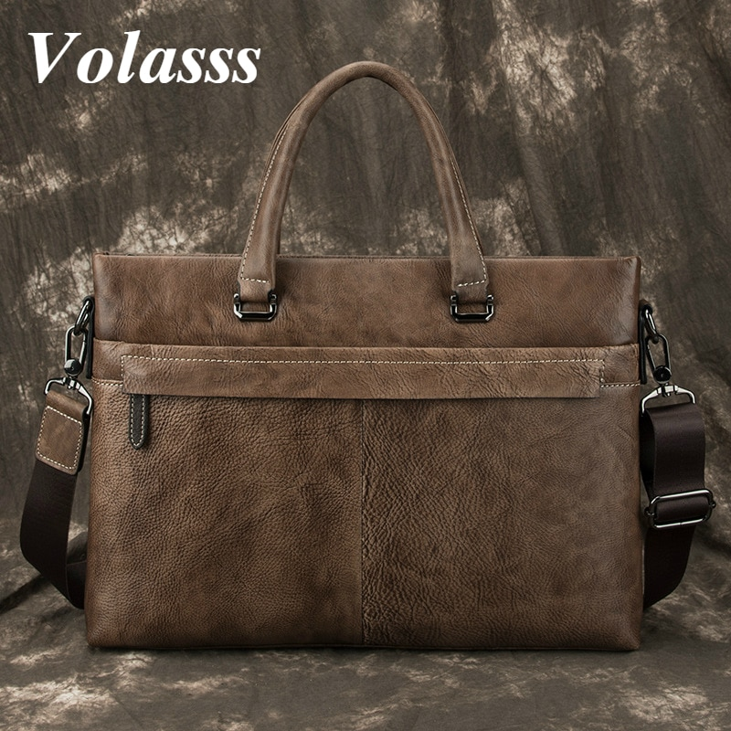Volasss Luxury Briefcases For Men Genuine Leather Handbags New Vintage Totes Bag Casual Business Man's Messenger Shoulder Bags