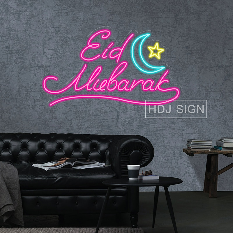 Eid Mubarak Custom Neon Wall Decoration Holiday Decoration Lights Used For Family And Friends Party Celebration Gifts Moon Star