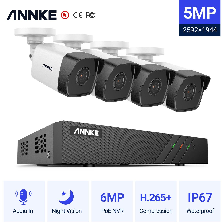 ANNKE 5MP H.265 + سوبر HD PoE شبكة الفيديو نظام الأمن 4 قطعة للماء في الهواء الطلق POE IP كاميرات التوصيل والتشغيل PoE كاميرا كيت