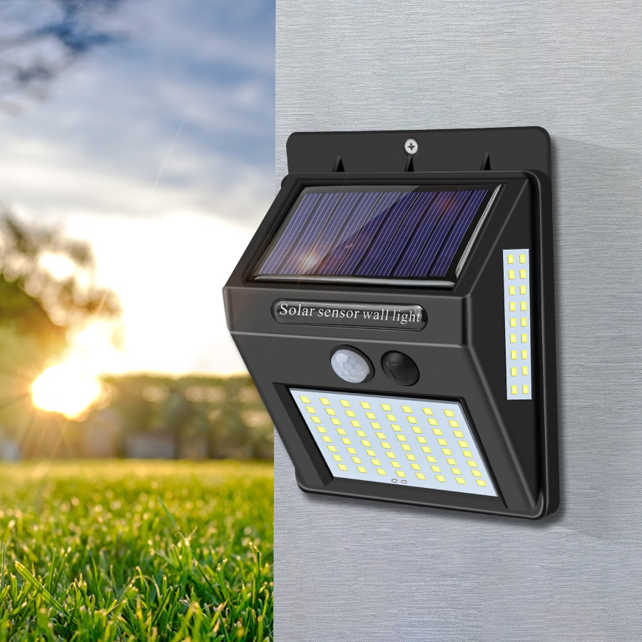 4 Uds 60 LED 80 LED luz Solar al aire libre impermeable 3 luz Solar PIR Sensor Luz de pared, decoración de jardín energía Solar
