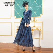 2020 Office Lady Vintage Chiffon Lace Long Dress Women Long Sleeve Dress Ethnic Style Plus Size Dress DZ2398