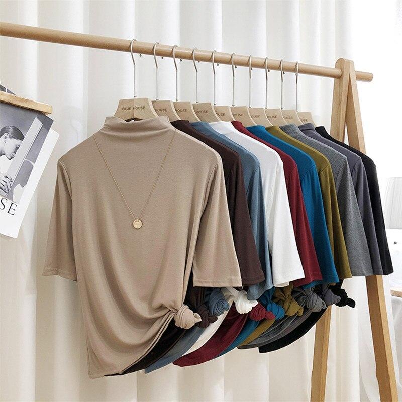 Moda elegancka wiosenna i letnia damska koszulka z golfem pół rękawa z dzianiny modalna bawełniana bluzka bluzki M-8XL plus rozmiar Autunm koszule