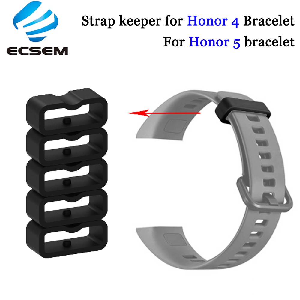Ecsem 16mm Strap Keeper For Honor 4 Band Silicone Loop Replacement Watch Band Retaining Hoop Rubber