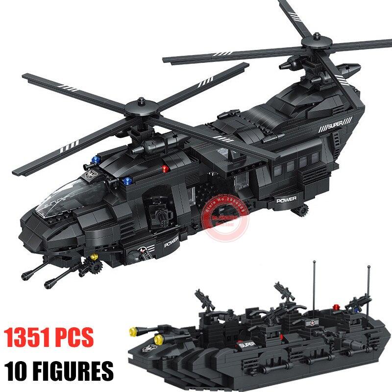 Swat equipe 1351 pçs apto cidade polícia blocos de construção tijolos swat polícia soldado transporte helicóptero crianças presente do miúdo brinquedo