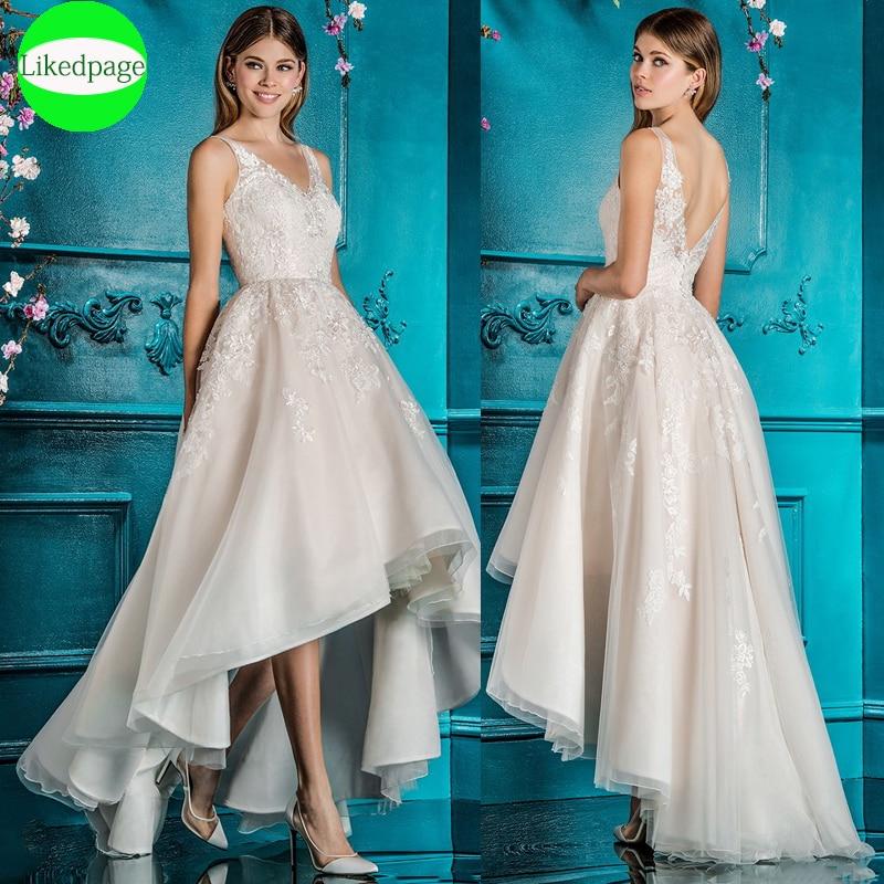 فستان زفاف مثير على الطراز البوهيمي ، فستان زفاف برقبة على شكل V ، قصير من الأمام وظهر طويل ، 2021