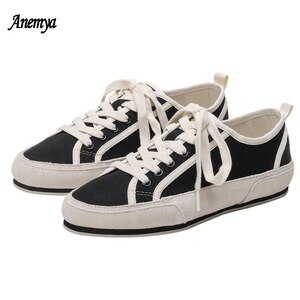 Black Casual Flats Women's Canvas Shoes Spring Autumn Vulcanized Sneakers Women Outdoor Sport Skateboarding Shoes White 2021 New