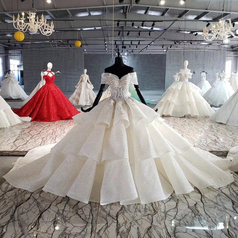 BGW-vestido De Novia De Corte Princesa HT41326, brillante, con cristales, escote corazón, sin hombros
