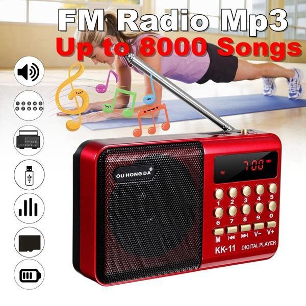 K11 fm rádio alto-falante suporta micro sd/tf cartão usb drive fm aux rádio portátil recarregável handheld digital fm usb mp3 player
