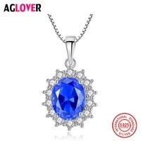 aglover new 925 sterling silver blue snowflake pendant long chain necklace for woman fashion wedding christmas statement jewelry