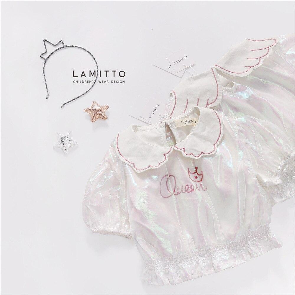 Tonytaobaby novedad de verano, camiseta de malla de camuflaje rosa para niña con alas, blusa blanca