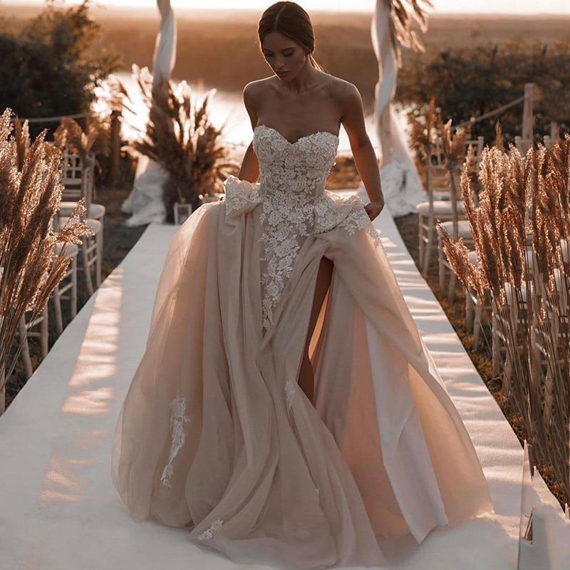 Романтические свадебные платья цвета шампанского, кружевные винтажные свадебные платья, боковой корсет с разрезом на спине, женское платье...