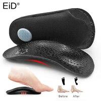Ортопедические кожаные стельки EiD 3/4, коррекция плоскостопия с супинатором, стельки для обуви, уход за ступнями для мужчин и женщин