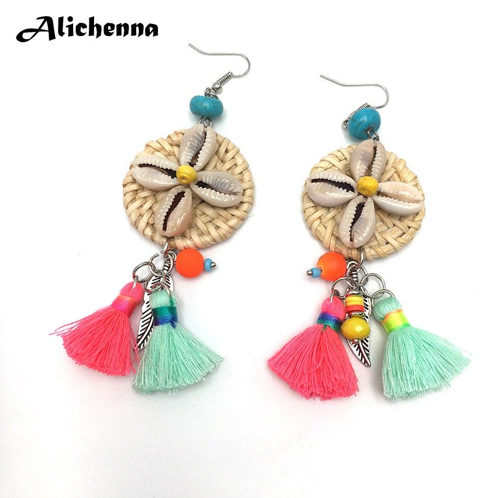 Boho Colour Tassel Alloy Leaf Dangle Earrings Statement Women Bohemian Rattan Knit Shell Earrings Best Selling 2018 Products