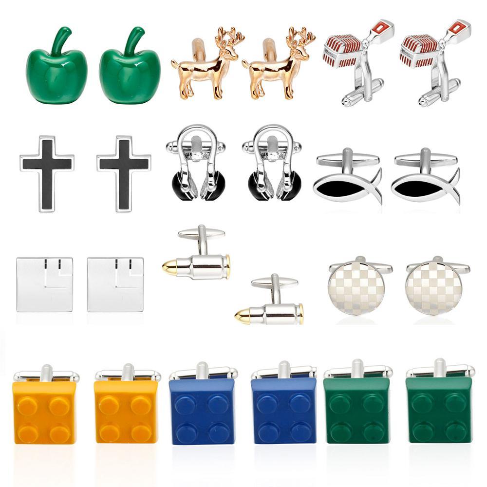 Ювелирные изделия рубашки запонки для мужчин бренд кристалл/Самолет/микрофон/наушники/Строительные блоки запонки дизайнерские кнопки