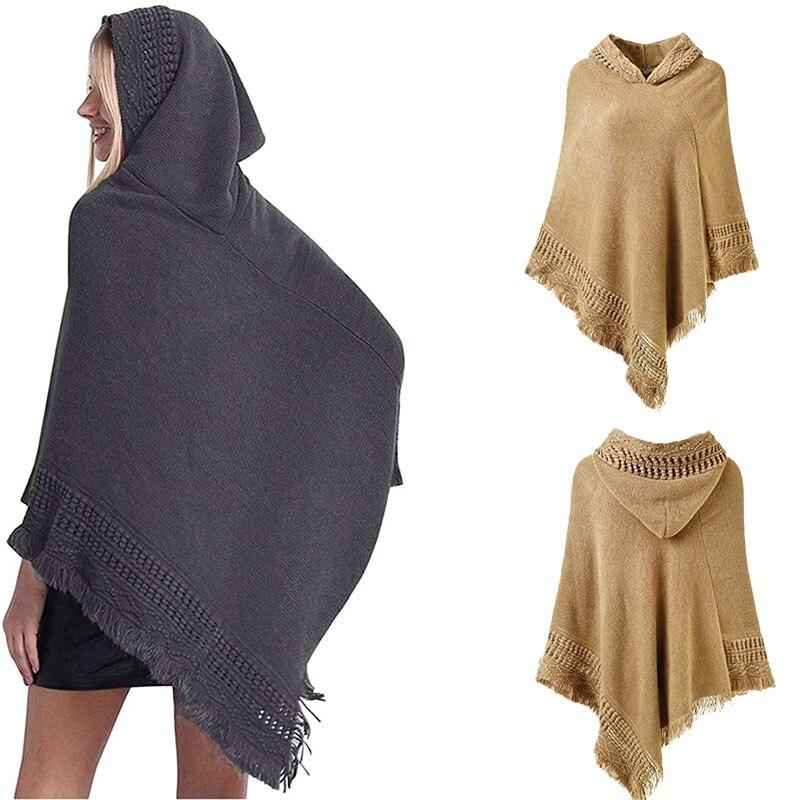 Europeu e americano outono e inverno modelos de malha com capuz manto xale monochrome pulôver camisola com capuz xale