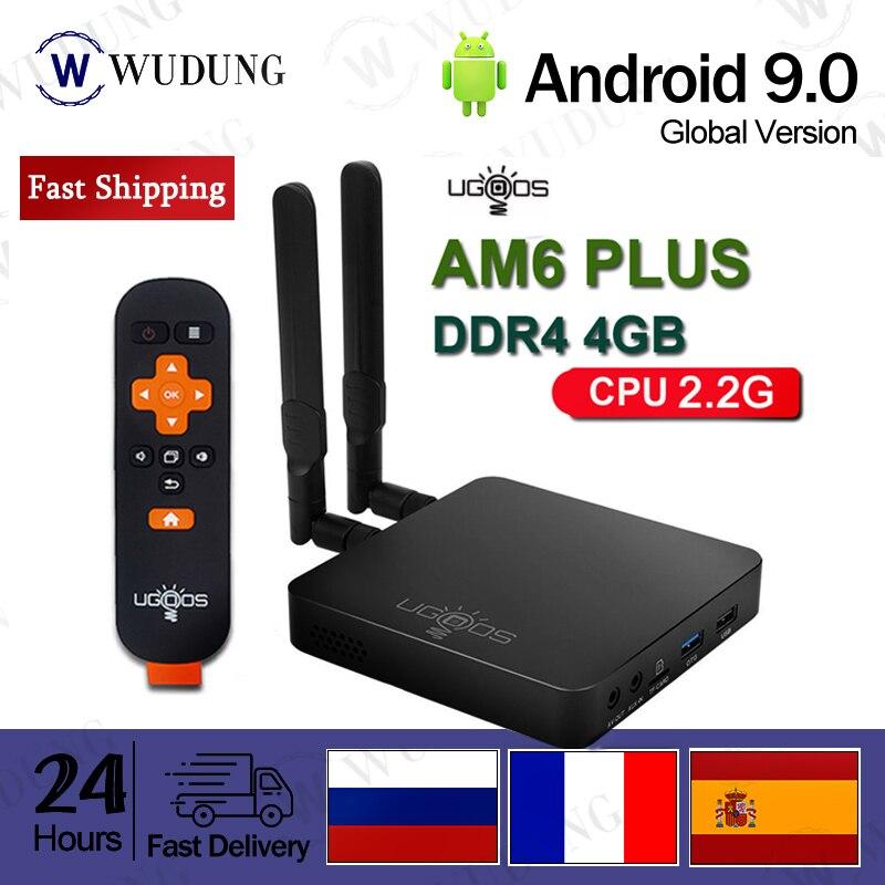 UGOOS AM6 Plus Android 9,0 caja de TV S922X-J 2,2 GHz 4GB DDR4 RAM 32GB ROM 2,4G 5G WiFi 1000M LAN Bluetooth 4K no app incluido