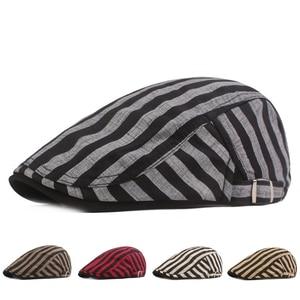 Fashion Striped Golf Caps Men Women Sports Casual Hiking Hat Autumn Summer Street Hats 2021 Camping Vintage Newsboy Cap Dropship