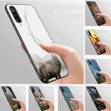 Mobile Phone Case Soft black for Xiaomi Redmi Mi 6 8 9 9T SE Pro F1 A1 A2 A3 CC9E Note 10 Mix 2S  Cover Forest deer