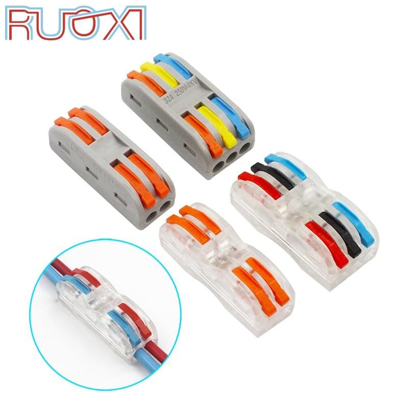 Nuevo mini conector de cable rápido de color (10-50 piezas/lote), Conector de cableado compacto universal, bloque de terminal enchufable