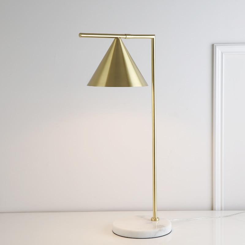 E27 مصباح مكتب إسكندنافي ريترو ، قاعدة رخامية ، مصباح طاولة نحاسي ، قراءة ، مكتب ذهبي ، لغرفة الدراسة ، غرفة النوم ، طاولة السرير ، غرفة المعيشة