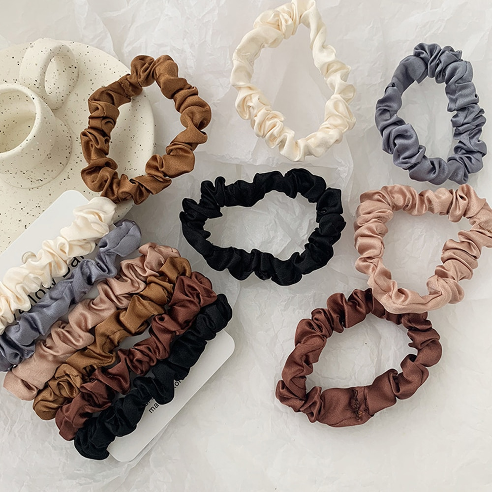 50pcs lot korean fashion girl elastic hair bands tie rope ring rubber ponytail holder colorfully black hair bands for women 6pcs/set Fashion Women Girls Silk Elastic Hair Bands Tie Rope Ring Scrunchie Ponytail Holder Gum Rubber Bands Hair Accessories