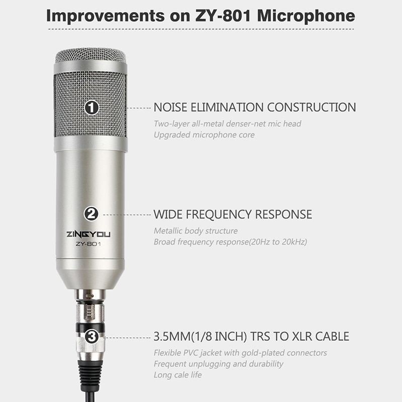 Condenser Microphone For Computer Vocal Recording Podcaster Mic Tripod Stand For PC 3.5mm Wired Professional Studio Microphone enlarge