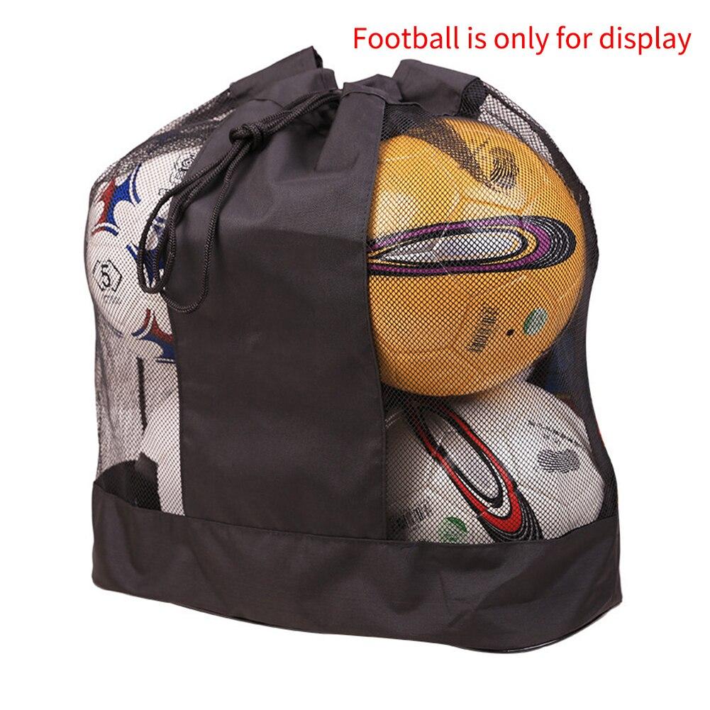 Large Capacity Single Shoulder Adjustable Strap Drawstring Oxford Cloth Mesh Ball Bag Basketball Sack Easy Carry Volleyball