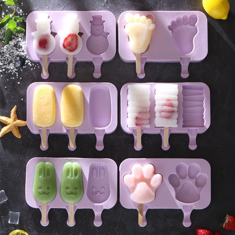 Silicone Ice Cream Mold Reusable Popsicle Molds DIY Homemade Cartoon Shape Ice Cream Mould Popsicle Barrel Maker Mould недорого