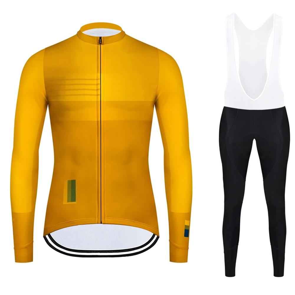 Otoño ciclismo Jersey de manga larga conjunto de Ciclismo MTB camiseta de bicicleta de carretera hombres pantalones babero traje ropa de bicicleta Maillot uniforme deportivo