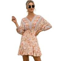 a line bohemian floral print mini dress lace up backless elegant womens summer dress for praty night robe femme vestidos mujer