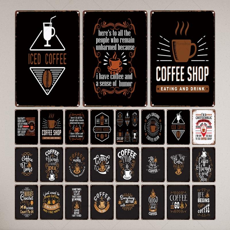 Letrero de Metal para cocina, letrero de lata, decoración Vintage para Bar, Pub, casa, cafetería, café, café, Metal 30X20CM