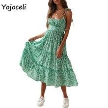 Yojoceli chic floral print sundress women boho beach midi dress female vestidos dress big pendulum dress