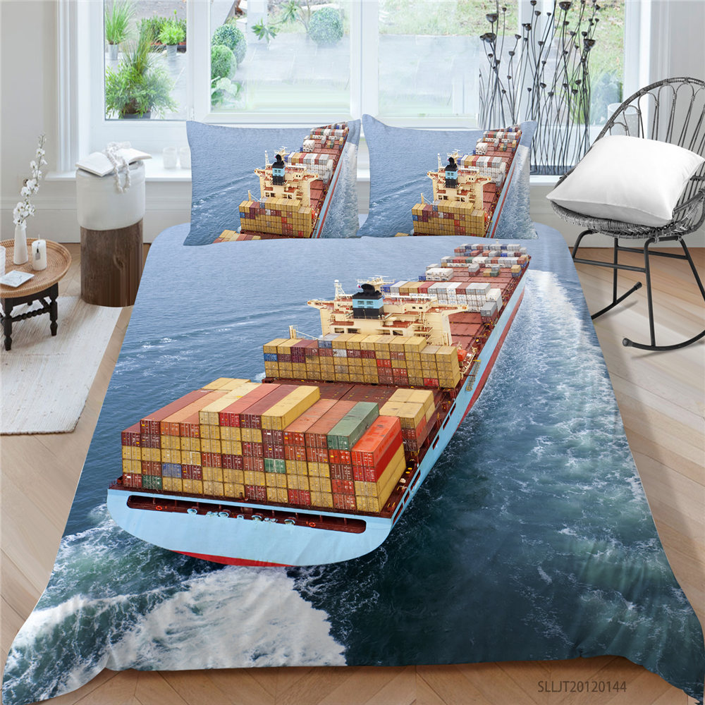 King Size Bedding Set Cargo Ship Fashion 3D Duvet Cover Sea Single Double Twin Full Queen High End Bed Set Ferry