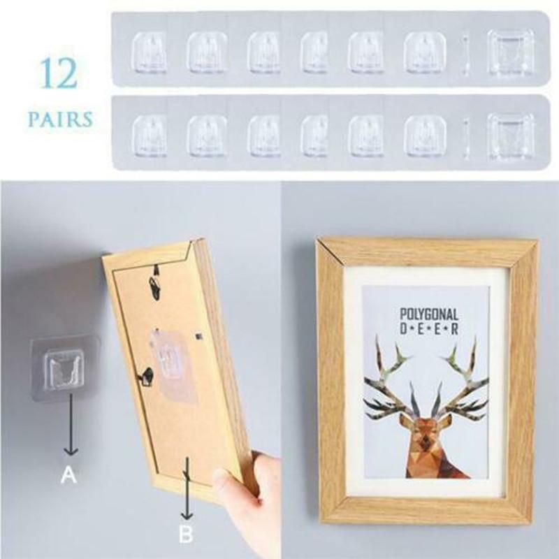 1 pereche cârlig dublu adeziv perete cârlig pastă priză priză - Organizarea și depozitarea în casă - Fotografie 4
