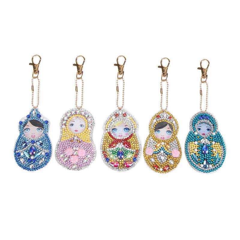5 uds. Dibujos animados lindos búho pintura Daimond llavero DIY taladro diamante decoración llavero para niñas mujeres decoración de bolso colgante Kit