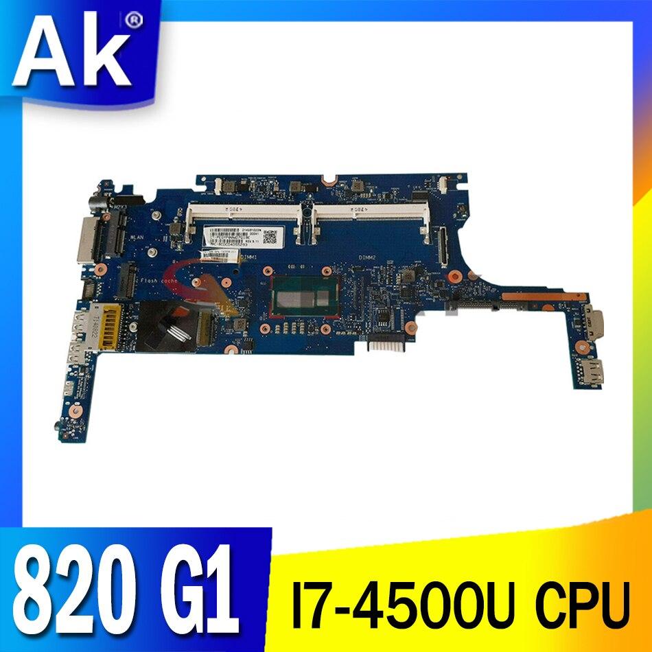 817920-601 817920-001 para HP Elitebook 820 G1 I7-4500U Laptop Motherboard 6050A2560501-MB-A02 SR16Z DDR3 Notebook Mainboard