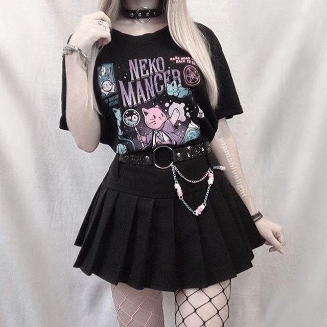 Fashionshow-JF 1 Uds Neko Mancer camiseta Unisex bonita estética Grunge camiseta negra satánica gótica ropa bruja camisa