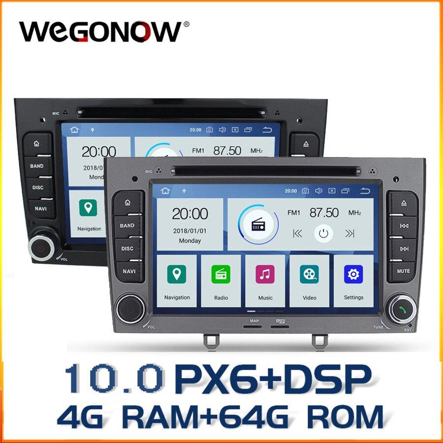 DSP IPS PX6 Android 10 4GB RAM 64GB Bluetooth 4,2 Wifi Radio RDS reproductor de DVD de coche para Peugeot 308 Peugeot 408 Carplay TPMS Cámara