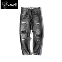 bedrock high quality vintage jeans heavy industry embroidery patch black wash raw denim jeans for men mbbcar7287