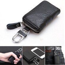 Leather Keychain Men Women Key Holder Organizer Pouch Cow Split Car Key Bag Wallet Housekeeper Key C
