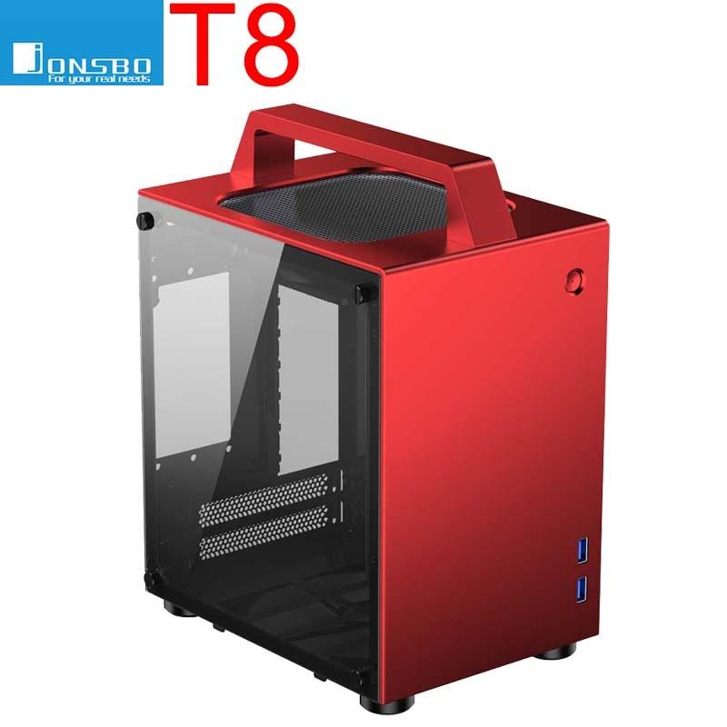 Jonsbo T8 ITX portable MINI aluminum chassis Side transparent Small computer handle case