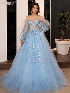 SoAyle Evening Dress Ball Gown Sweetheart Blue Appliques Beading Lace Evening Dress 2020 Long Sleeves Vestido de Festa