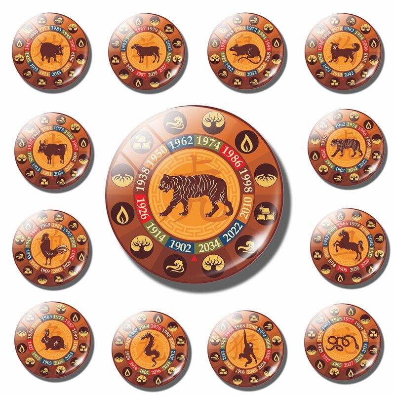 Chinese Zodiac Fridge Magnet Refrigerator Stickers Gift Mouse Cattle Tiger Rabbit Long  Snake Horse Sheep Monkey Chicken Dog Pig