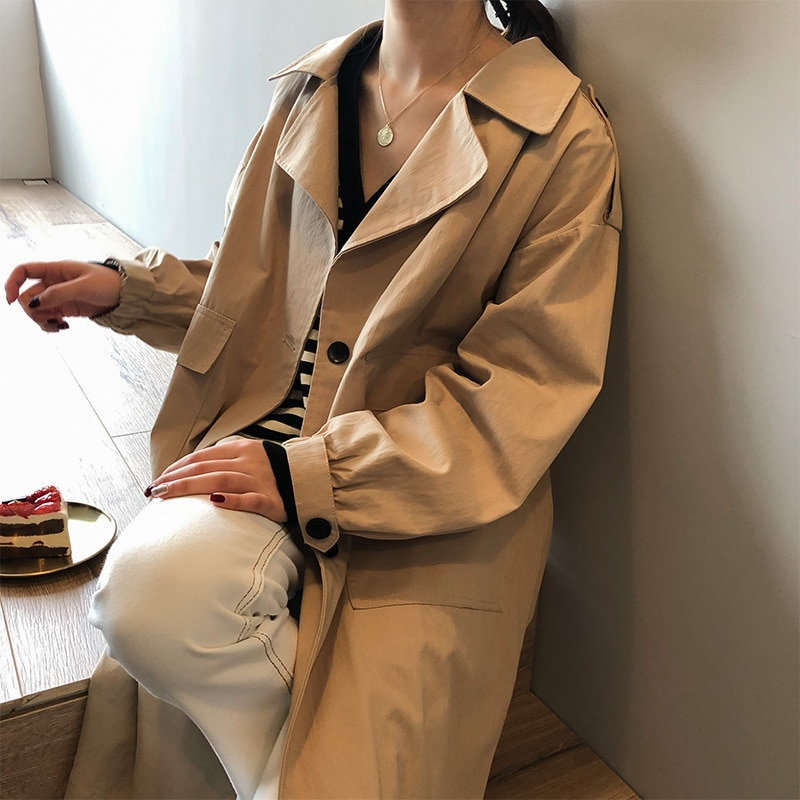 Autumn Women Windbreaker Mid-length Female Long Trench Coat Loose Style Women's Solid Color Long Sle