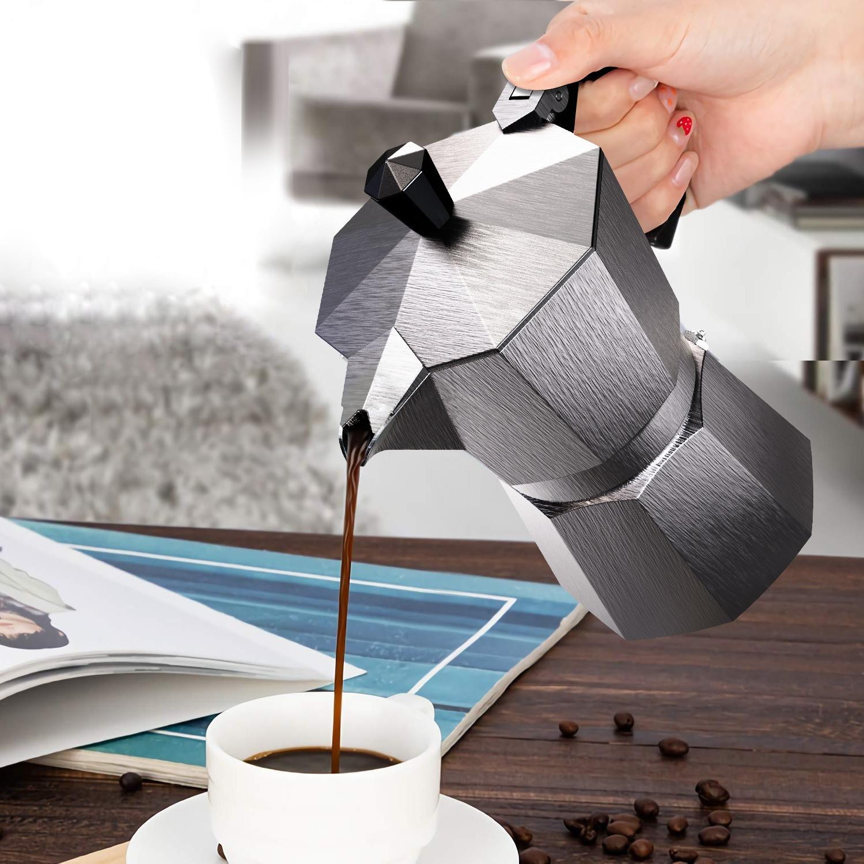 صانع القهوة وعاء الألومنيوم موكا اسبريسو Percolator وعاء غلاية قهوة كافتيرا المنزل في الهواء الطلق موقد القهوة أدوات الشظية الأحمر الأسود