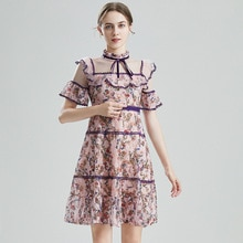 Elegant Stand Flare Sleeve Floral Printed Women Lace Dress Bow A-line Female Sweet Princess Dress Vi