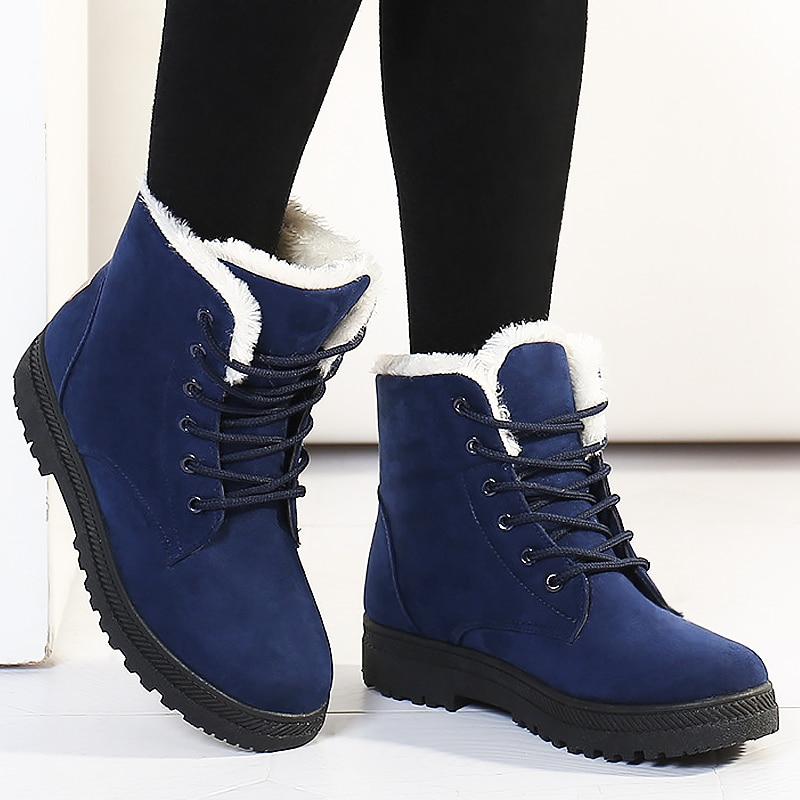 Botas femininas women boots 2021 new winter shoes warm snow fashion ankle flock woman