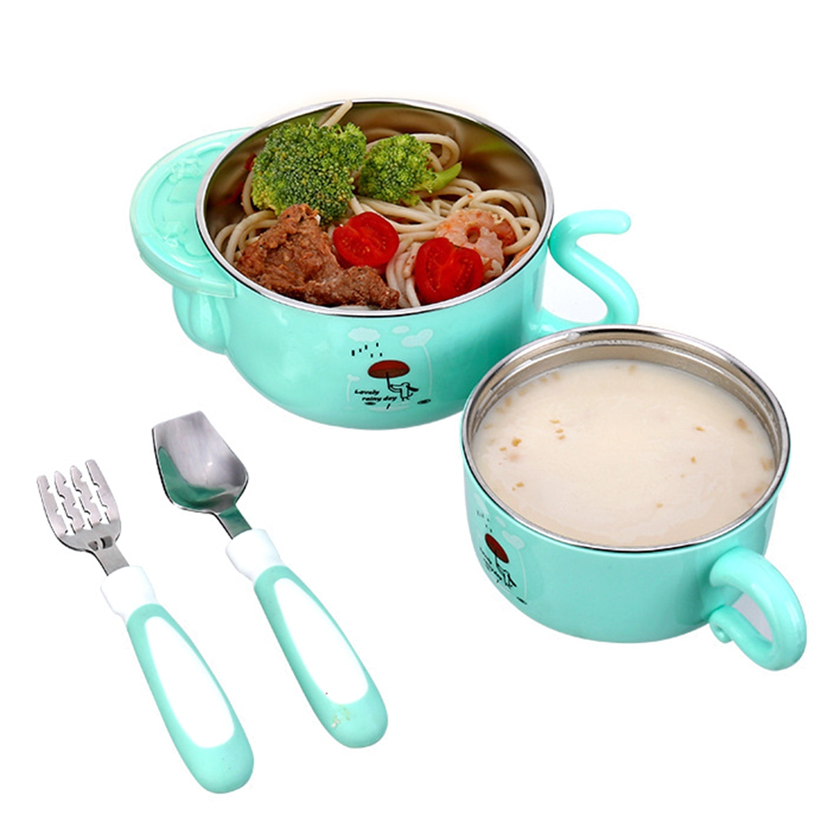 Baby Care 5pcs/sets baby newborn food Dinnerware Set baby stainless steel bowl Spoon cup fork Tableware set kids Food Container