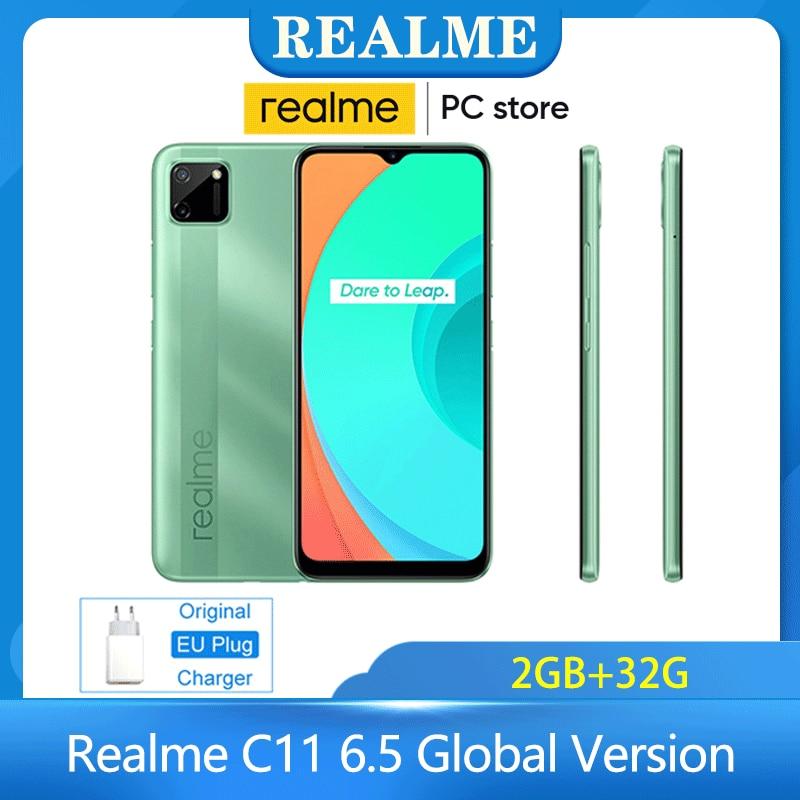 Realme C11 6.5 Global Version 2GB 32GB Helio G35 5V2A Charger 5000mAh 13MP AI Dual Camera Octa Core 4G Mobile Phone Smarthphone