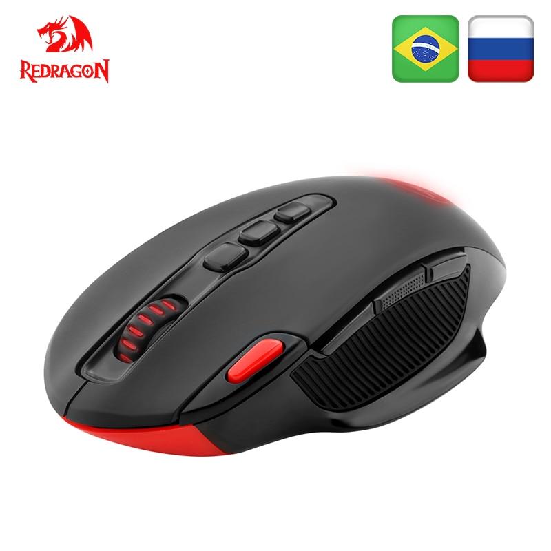 Беспроводная игровая мышь Redragon SHARK M688, программируемая, 5000 точек/дюйм, 10 кнопок, эргономичная, для overwatch gamer, мыши, ноутбук, компьютер